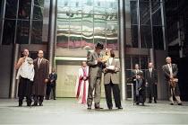 THE MERCHANT OF VENICE   by Shakespeare   director: Peter Zadek <br>,left: Ignaz Kirchner (Antonio), Paulus Manker (Bassanio)   centre - rear: Martin Seifert (The Doge)   - front: Gert Voss (Shylock),...