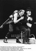 THE MERCHANT OF VENICE   by Shakespeare   director: John Barton <br> ,II/ii - l-r: Rob Edwards (Launcelot Gobbo), Jimmy Gardner (Old Gobbo) ,Royal Shakespeare Company / Royal Shakespeare Theatre     S...