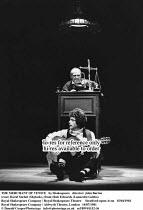 THE MERCHANT OF VENICE   by Shakespeare   director: John Barton <br> ,(rear) David Suchet (Shylock), (front) Rob Edwards (Launcelot Gobbo)   ,Royal Shakespeare Company / Royal Shakespeare Theatre...