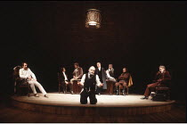 THE MERCHANT OF VENICE   by Shakespeare   director: John Barton <br> ,IV/i - l-r: Tom Wilkinson (Antonio), Jonathan Hyde (Bassanio), Arthur Kohn (Gratiano), David Suchet (Shylock), Sinead Cusack (Port...