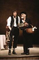 THE MERCHANT OF VENICE   by Shakespeare   director: John Barton <br>,II/ii - l-r: Rob Edwards (Launcelot Gobbo), Jimmy Gardner (Old Gobbo)  ,Royal Shakespeare Company / Aldwych Theatre, London   14/07...