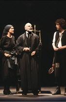 THE MERCHANT OF VENICE   by Shakespeare   director: John Barton <br>,l-r: Judy Buxton (Jessica), David Suchet (Shylock), Rob Edwards (Launcelot Gobbo)  ,Royal Shakespeare Company / Aldwych Theatre, Lo...