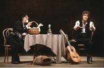 THE MERCHANT OF VENICE   by Shakespeare   director: John Barton <br>,II/ii - l-r: Jimmy Gardner (Old Gobbo), Rob Edwards (Launcelot Gobbo)  ,Royal Shakespeare Company / Aldwych Theatre, London   14/07...