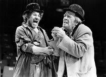 WAITING FOR GODOT   by Beckett   director: Braham Murray <br>,l-r: Trevor Peacock (Estragon), Max Wall (Vladimir)   ,Royal Exchange Theatre, Manchester production   Roundhouse, London NW1  09/06/1981...