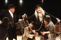 WAITING FOR GODOT   by Beckett   director: Braham Murray <br>,l-r: Wolfe Morris (Pozzo), Max Wall (Vladimir), Gary Waldhorn (Lucky), Trevor Peacock (Estragon)   ,Royal Exchange Theatre, Manchester pro...