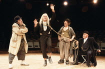 WAITING FOR GODOT   by Beckett   director: Braham Murray <br>,l-r: Max Wall (Vladimir), Gary Waldhorn (Lucky), Trevor Peacock (Estragon), Wolfe Morris (Pozzo)   ,Royal Exchange Theatre, Manchester pro...