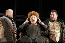 'MARY, QUEEN OF SCOTS' (Donizetti, after Schiller   conductor: Noel Davies   director: James Conway),l-r: Charles Johnston (Talbot), Jennifer Rhys-Davies (Elizabeth), Andrew Rupp (Cecil),English Touri...