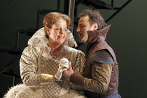'MARY, QUEEN OF SCOTS' (Donizetti, after Schiller   conductor: Noel Davies   director: James Conway),Anne Mason (Elizabeth) Nicholas Ransley (Leicester),English Touring Opera / Hackney Empire, London...