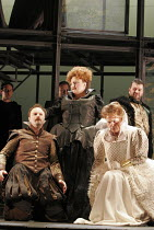 'MARY, QUEEN OF SCOTS' (Donizetti, after Schiller   conductor: Noel Davies   director: James Conway),l-r: Nicholas Ransley (Leicester), Jennifer Rhys-Davies (Elizabeth), Anne Mason (Elizabeth), Andrew...