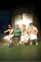 'OLD BIG 'EAD in THE SPIRIT OF THE MAN' (Stephen Lowe - director: Alan Dossor),Prologue - The Heavenly Shower,l-r: Jamie Kenna (D.H. Lawrence), Colin Tarrant (Brian Clough), Ben Goddard (Lord Byron),...