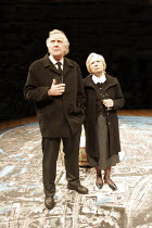 'ON THE SHORE OF THE WIDE WORLD' (Simon Stephens - director: Sarah Frankcom),David Hargreaces (as Charlie Holmes), Eileen O'Brien (as Ellen Holmes)   (stage shows an aerial view of Stockport),Royal Ex...