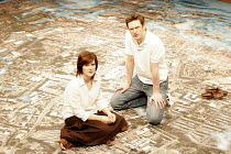 'ON THE SHORE OF THE WIDE WORLD' (Simon Stephens - director: Sarah Frankcom),Siobhan Finneran (as Alice Holmes), Nicholas Gleaves (as Peter Holmes)   (stage shows an aerial view of Stockport),Royal Ex...