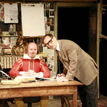 I AM SHAKESPEARE   conceived and written by Mark Rylance   devised by the company   ,directed by Mark Rylance & Matthew Warchus <br>,l-r: Colin Hurley (William Shakespeare), Mark Rylance (Frank Charlt...
