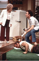 TRUE WEST   by Sam Shepard   director: John Schlesinger <br>,l-r: Patricia Hayes (Mom), Bob Hoskins (Lee), Antony Sher (Austin),Cottesloe Theatre / National Theatre, London SE1        10/12/1981     ,