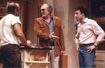 TRUE WEST   by Sam Shepard   director: John Schlesinger <br>,l-r: Bob Hoskins (Lee), Shane Rimmer (Saul Kimmer), Antony Sher (Austin),Cottesloe Theatre / National Theatre, London SE1        10/12/1981...