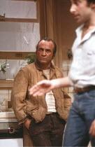 TRUE WEST   by Sam Shepard   director: John Schlesinger <br>,l-r: Bob Hoskins (Lee), Antony Sher (Austin),Cottesloe Theatre / National Theatre, London SE1        10/12/1981     ,