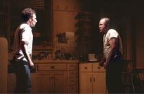 TRUE WEST   by Sam Shepard   director: John Schlesinger <br>,l-r: Antony Sher (Austin), Bob Hoskins (Lee),Cottesloe Theatre / National Theatre, London SE1        10/12/1981     ,
