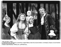 THE CRUCIBLE  by Arthur Miller  design: Shelagh Keegan  lighting: Paul Denby  director: David Thacker ~l-r: Wendy Nottingham (Betty Parris), Cornelia Hayes (Abigail Williams), (rear) Christopher Robbi...