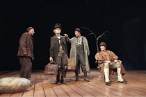 WAITING FOR GODOT  by Samuel Beckett   director: Peter Hall <br>,l-r: Ben Kingsley (Estragon), Greg Hicks (Lucky), Alan Howard (Vladimir), Denis Quilley (Pozzo),Old Vic Theatre, London SE1...