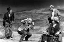 WAITING FOR GODOT   by Beckett   director: Michael Rudman <br>,l-r: Alec McCowen (Vladimir), Peter Wight (Lucky), (seated) Colin Welland (Pozzo), (standing rear) John Alderton (Estragon)   ,Lyttelton...
