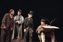 WAITING FOR GODOT  by Samuel Beckett   director: Peter Hall <br>,l-r: Ben Kingsley (Estragon), Alan Howard (Vladimir), Greg Hicks (Lucky), Denis Quilley (Pozzo),Old Vic Theatre, London SE1...
