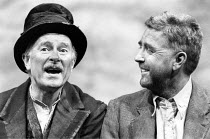 WAITING FOR GODOT   by Beckett   director: Michael Rudman <br>,l-r: John Alderton (Estragon), Alec McCowen (Vladimir)   ,Lyttelton Theatre / National Theatre, London SE1        25/11/1987   ,