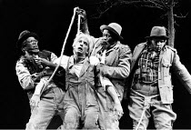 WAITING FOR GODOT   by Beckett   director: Donald Howarth <br>,l-r: John Kani (Vladimir), Peter Piccolo (Lucky), Winston Ntshona (Estragon), Bill Flynn (Pozzo)    ,Baxter Theatre Company, Capetown...