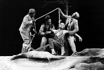 WAITING FOR GODOT   by Beckett   director: Donald Howarth <br>,l-r: Bill Flynn (Pozzo), John Kani (Vladimir), Peter Piccolo (Lucky), Winston Ntshona (Estragon),Baxter Theatre Company, Capetown     The...