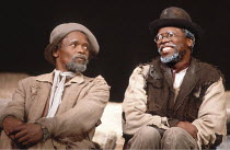 WAITING FOR GODOT   by Beckett   director: Donald Howarth <br>,l-r: Winston Ntshona (Estragon), John Kani (Vladimir)   ,Baxter Theatre Company, Capetown     The Old Vic, London SE1  02/1981   ,