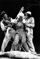 WAITING FOR GODOT   by Beckett   director: Donald Howarth <br>,l-r: John Kani (Vladimir), Peter Piccolo (Lucky), Winston Ntshona (Estragon),Baxter Theatre Company, Capetown     The Old Vic, London SE1...