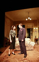 AWAKE AND SING!  by Clifford Odets  design: Tim Shortall  lighting: Paul Pyant  director: Michael Attenborough <br>  Jodie Whittaker (Hennie Berger), Nigel Lindsay (Moe Axelrod)  Almeida Theatre, Lo...