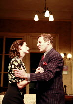 AWAKE AND SING!  by Clifford Odets  design: Tim Shortall  lighting: Paul Pyant  director: Michael Attenborough <br>  Jodie Whittaker (Hennie Berger), Nigel Lindsay (Moe Axelrod),Almeida Theatre, Lond...