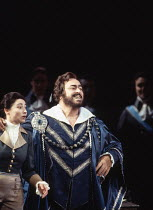 UN BALLO IN MASCHERA   by Verdi   ,conductor: Edward Downes   original director: Otto Schenk <br>,Lillian Watson (Oscar), Luciano Pavarotti (Gustavus III)   ,The Royal Opera / Covent Garden, London WC...