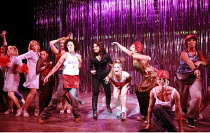 BAD GIRLS - THE MUSICAL   book: Maureen Chadwick & Ann McManus   music & lyrics: Kath Gotts   director: Maggie Norris <br>,rear centre, in black: Sally Dexter (Yvonne Atkins)   crouching front right:...