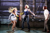 BAD GIRLS - THE MUSICAL   book: Maureen Chadwick & Ann McManus   music & lyrics: Kath Gotts   director: Maggie Norris <br>,fighting - left: Nicole Faraday (Shell Dockley)    centre: Caroline Head (Nik...