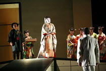 MADAMA BUTTERFLY   by Puccini   ,conductor: Wyn Davies   set design: Hildegard Bechtler   costume design: Ana Jebens   lighting design: Peter Mumford   director: Tim Albery <br>,l-r: (rear left) Alasd...