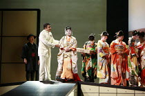 MADAMA BUTTERFLY   by Puccini   ,conductor: Wyn Davies   set design: Hildegard Bechtler   costume design: Ana Jebens   lighting design: Peter Mumford   director: Tim Albery <br>,l-r: (rear) Alasdair E...