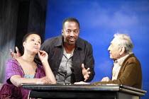 PURE GOLD   by Michael Bhim   director: Indhu Rubasingham <br> ,l-r: Golda Rosheuvel (Marsha), Clarence Smith (Simon), Leonard Fenton (George),Talawa Theatre Company / Soho Theatre, London W1      01/...