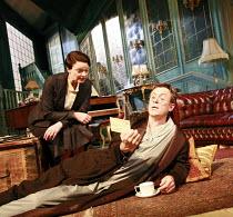 PRESENT LAUGHTER   by Noel Coward   director: Howard Davies <br>,Sarah Woodward (Monica Reed), Alex Jennings (Garry Essendine),Lyttelton Theatre / National Theatre (NT), London SE1    02/10/2007,