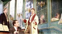 PRESENT LAUGHTER   by Noel Coward   director: Howard Davies <br>,l-r: Simon Wilson (Henry Lyppiatt), Tim McMullan (Morris Dixon), Alex Jennings (Garry Essendine),Lyttelton Theatre / National Theatre (...