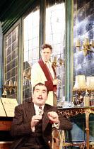PRESENT LAUGHTER   by Noel Coward   director: Howard Davies <br>,(rear) Alex Jennings (Garry Essendine), (front) Tim McMullan (Morris Dixon),Lyttelton Theatre / National Theatre (NT), London SE1    02...