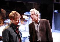 DEALER^S CHOICE   by Patrick Marber   director: Samuel West <br>,l-r: Sam Barnett (Carl), Roger Lloyd Pack (Ash),Menier Chocolate Factory / London SE1        03/10/2007                  ,