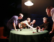 DEALER^S CHOICE   by Patrick Marber   director: Samuel West <br>,l-r:  Jay Simpson (Frankie), Stephen Wright (Mugsy), Malcolm Sinclair (Stephen), Roger Lloyd Pack (Ash), Ross Boatman (Sweeney) ,Menier...