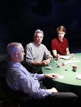 DEALER^S CHOICE   by Patrick Marber   director: Samuel West <br>,l-r: Malcolm Sinclair (Stephen), Roger Lloyd Pack (Ash), Sam Barnett (Carl),Menier Chocolate Factory / London SE1        03/10/2007...