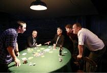 DEALER^S CHOICE   by Patrick Marber   director: Samuel West <br>,clockwise from front left: Jay Simpson (Frankie), Malcolm Sinclair (Stephen), Roger Lloyd Pack (Ash), Sam Barnett (Carl), Ross Boatman...