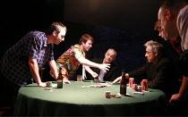 DEALER^S CHOICE   by Patrick Marber   director: Samuel West <br>,l-r:  Jay Simpson (Frankie), Stephen Wright (Mugsy), Malcolm Sinclair (Stephen), Roger Lloyd Pack (Ash), Sam Barnett (Carl), Ross Boatm...