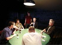 DEALER^S CHOICE   by Patrick Marber   director: Samuel West <br>,clockwise from front left: Jay Simpson (Frankie), Stephen Wright (Mugsy), Sam Barnett (Carl), ,Malcolm Sinclair (Stephen), Roger Lloyd...
