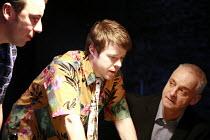 DEALER^S CHOICE   by Patrick Marber   director: Samuel West <br>,l-r:  Jay Simpson (Frankie), Stephen Wright (Mugsy), Malcolm Sinclair (Stephen) ,Menier Chocolate Factory / London SE1        03/10/200...