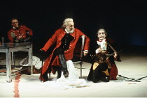 KING LEAR  by Shakespeare  design: Anthony Ward  director: Adrian Noble  ~centre, l-r: Robert Stephens (King Lear), Ian Hughes (The Fool)~Royal Shakespeare Company (RSC), Royal Shakespeare Theatre,  S...