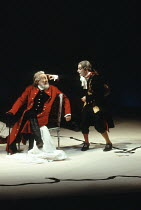 KING LEAR  by Shakespeare  design: Anthony Ward  director: Adrian Noble  ~ l-r: Robert Stephens (King Lear), Ian Hughes (The Fool)~Royal Shakespeare Company (RSC), Royal Shakespeare Theatre,  Stratfor...